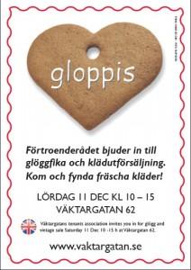 Inbjudan till gloppis - glöggfika och vintage sale
